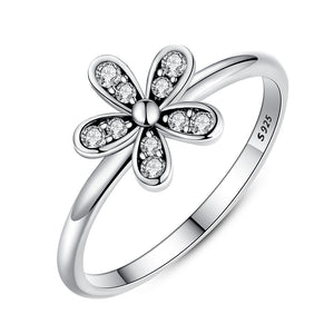 BAMOER Two Colors Fashion Elegant Original 925 Sterling Silver Dazzling Daisy Flower Ring Clear CZ Wedding Jewelry PA7123 - Clucco