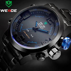 Top Luxury Brand WEIDE Men Full Steel Watches Men's Quartz Analog LED Clock Man Fashion Sports Army Military Wrist Watch - Clucco