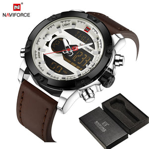 NAVIFORCE TOP Luxury Brand Men's Quartz Waterproof Watches Men Fashion Sports Clock Man Leather Military Watch Relogio Masculino - Clucco