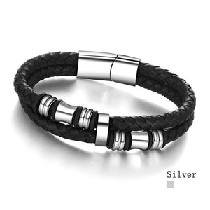 Stainless Steel Men Bracelet Genuine Leather Bracelets & Bangles Man Jewelry 185mm 200mm 215mm Gift For Men (JewelOra BA101174) - Clucco