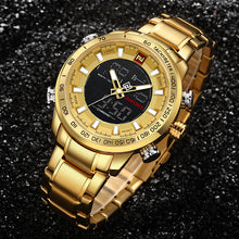 NAVIFORCE Luxury Brand Mens Sport Watch Gold Quartz Led Clock Men Waterproof Wrist Watch Male Military Watches Relogio Masculino - Clucco
