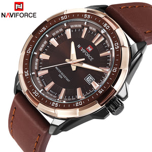 2017 NEW Fashion Casual NAVIFORCE Brand Waterproof Quartz Watch Men Military Leather Sports Watches Man Clock Relogio Masculino - Clucco