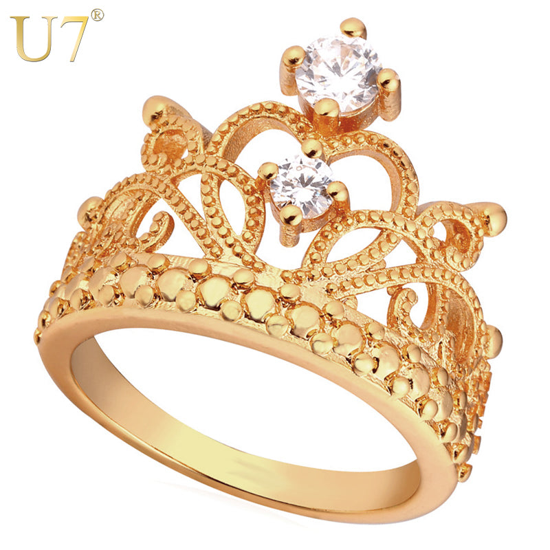 U7 Crown Rings For Women Birthday Gift Trendy Gold