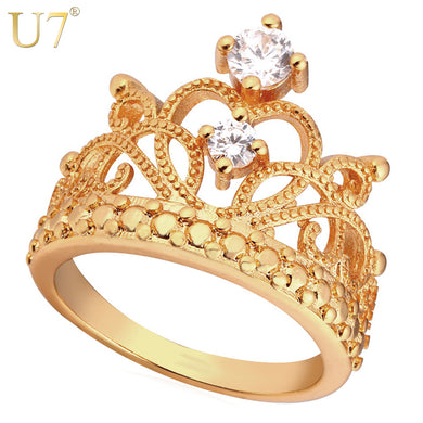 U7 Crown Rings For Women Birthday Gift Trendy Gold Color Cubic Zirconia Engagement /Wedding Bands Promise Rings R414 - Clucco