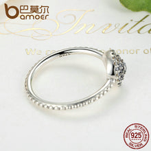 BAMOER 3 Size 925 Sterling Silver Round Shape Radiant Elegance, Clear CZ Flower Finger Rings for Women Ring Jewelry PA7178 - Clucco