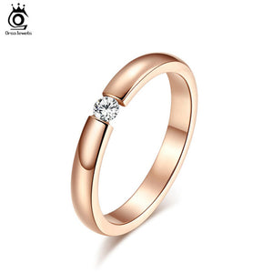 Stainless Steel Rings Shining Crystal Men Women Wedding Engagement Rings 4 Colors Available OTR48 - Clucco
