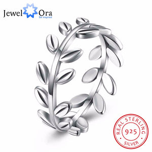 Solid 925 Sterling Silver Ring Leaves Shape OL Accessories Jewelry Rings For Women (JewelOra RI102591) - Clucco