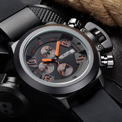 MEGIR CHRONOGRAPH Sport Function Mens Watches Top Brand Luxury Silicone Wrist Watches Men Male Quartz Watch relogio masculino - Clucco