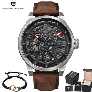 Fashion Luxury Brand Pagani Leather Tourbillon Watch Automatic Men Wristwatch Men Mechanical Steel Watches Relogio Masculino - Clucco