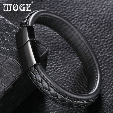 Trendy 12*6mm Black Brown Genuine Leather Bracelet Men Stainlees Steel Cuff Bracelets & Bangles Male Jewelry Gifts - Clucco