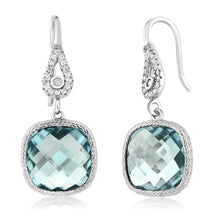 GemStoneKing Vintage 925 Sterling Silver Earrings For Women 11.00 Ctw Aquamarine Cushion Dangle Earrings - Clucco