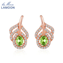 LAMOON Classic Leaf 100% Natural Oval Green Peridot 925 Sterling Silver Jewelry  S925 stud Earrings LMEI021 - Clucco