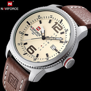 NAVIFORCE Original Luxury Brand Date Quartz Watch Men Casual Military Sports Leather Wristwatch Waterproof  Relogio Masculino - Clucco
