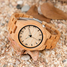 BOBO BIRD WD27 Bamboo Wooden Watch for Men Unique Lug Design Top Brand Luxury Quartz Wood Band Night Green Pointer Wrist Watches - Clucco
