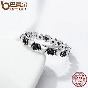BAMOER Genuine 925 Sterling Silver Stackable Ring Heart Black CZ Finger Rings for Women Wedding Anniversary Jewelry Anel SCR140 - Clucco