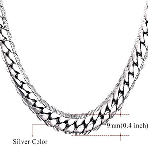 U7 Necklace Choker/Long 9MM/6MM Vintage Punk Black/Silver/Gold Color Miami Chain Hip Hop Chain Gift For Women/Men Jewelry N08 - Clucco