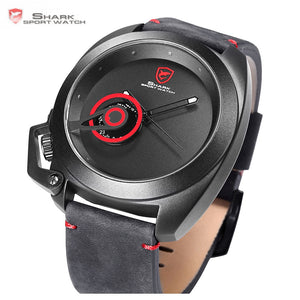 Tawny Shark Sport Watch Red Date Crown Guard Design Male Luxury Genuine Leather Wrist Watches Mens Fashion Quartz Relogio /SH446 - Clucco