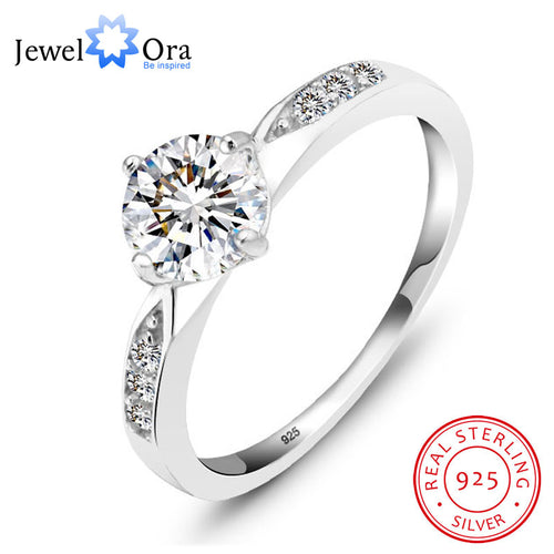 Genuine 925 Sterling Silver Ring Classic Wedding Ring Jewelry Cubic Zircon Rings For Women Bridesmaid Gifts (JewelOra RI101321) - Clucco