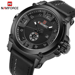 NAVIFORCE Top Luxury Brand Men Sports Military Quartz Watch Man Analog Date Clock Leather Strap Wristwatch Relogio Masculino - Clucco