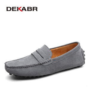 DEKABR Brand Fashion Summer Style Soft Moccasins Men Loafers High Quality Genuine Leather Shoes Men Flats Gommino Driving Shoes - Clucco