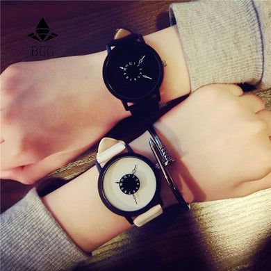 Hot fashion creative watches women men quartz-watch 2017 BGG brand unique dial design lovers' watch leather wristwatches clock - Clucco