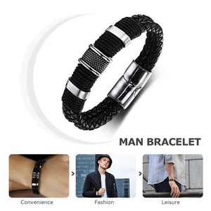 Wide Mens Weave Chain Wristband Leather Bracelet For Men Classic Bracelet Bangle Jewelry Gift For Man (JewelOra BA101163) - Clucco