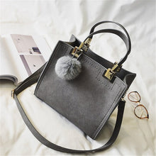 NEW HOT SALE handbag women casual tote bag female large shoulder messenger bags high quality Suede Leather handbag with fur ball