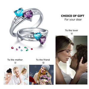 925 Sterling Silver Engagement Rings Birthstone Engrave Name Heart Promise Ring Anniversary birthday Gift (JewelOra RI101781) - Clucco