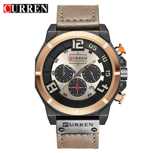 CURREN 8287 Top Brand Chronograph Quartz watches Men 24 Hour Date Men Sport Leather Wrist Watch - Clucco