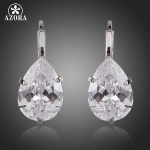 AZORA Brand Design Pear Cut Clear Cubic Zirconia Water Drop Earrings TE0158 - Clucco