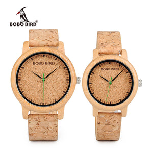 BOBO BIRD WM11M12 Lovers Casual Quartz Watches for Men Natural Bamboo Watch face Women's Brand Watches in Box Dropshipping - Clucco