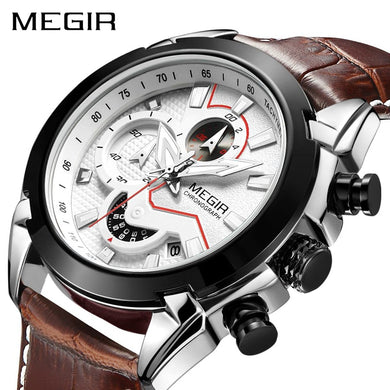 MEGIR Military Sport Watch Men Top Brand Luxury Leather Army Quartz Watches Clock Men Creative Chronograph Relogio Masculino - Clucco