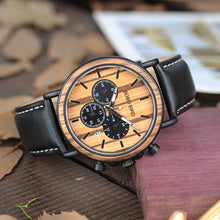 BOBO BIRD P092 Mens Watches Leather Brand Luxury Stylish Watch Wood & Stainless Steel Chronograph Military Quartz Watch for Men - Clucco
