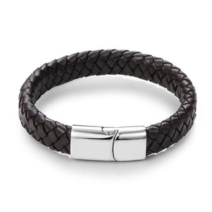 Jiayiqi Punk Men Jewelry Black/Brown Braided Leather Bracelet Stainless Steel Magnetic Clasp Fashion Bangles 18.5/22/20.5cm - Clucco