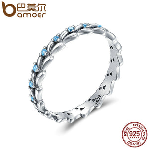 BAMOER Real 100% 925 Sterling Silver Stackable Ring Wheat Wave & Clear CZ Finger Rings for Women Sterling Silver Jewelry SCR162 - Clucco