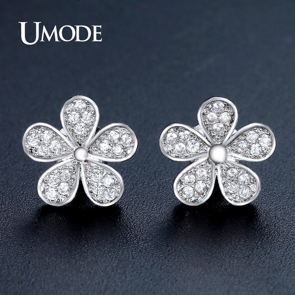 UMODE Cute Flower Shape Stud Earrings for Women White Gold Color Jewelry Fashion Blossom Boucle D'oreille Femme Christmas UE0321 - Clucco