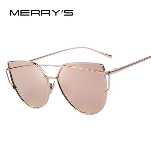 MERRY'S Fashion Women Cat Eye Sunglasses Classic Brand Designer Twin-Beams Sunglasses Coating Mirror Flat Panel Lens S'7882 - Clucco
