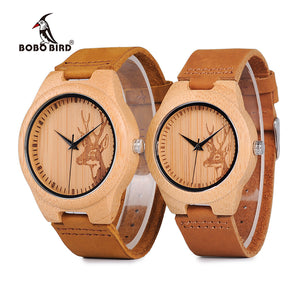 BOBO BIRD WN20 Lovers Elk Deer Head Bamboo Wooden Watch with Soft Brown Leather Strap for Men Women - Clucco