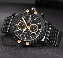 BENYAR Sport Chronograph Fashion Watches Men Mesh & Rubber Band Waterproof Luxury Brand Quartz Watch Gold Saat dropshipping - Clucco