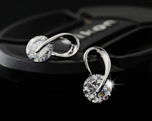 17KM Austria Crystal Wedding pendientes mujer Silver Color Zircon Crystal Stud Earrings Fashion Jewelry for Women brincos - Clucco