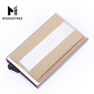Aluminum Wallet With Back Pocket ID Card Holder RFID Blocking Mini Slim Metal Wallet Automatic Pop up Credit Card Coin Purse - Clucco