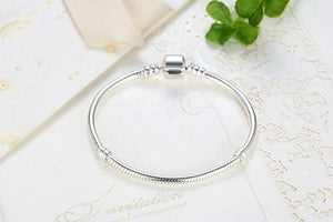 BAMOER Christmas SALE Authentic 100% 925 Sterling Silver Snake Chain Bangle & Bracelet Luxury Jewelry 17-20CM PAS902 - Clucco