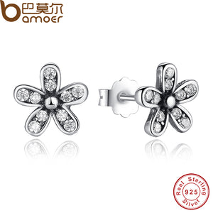 BAMOER Authentic 925 Sterling Silver Dazzling Daisy Stud Earrings With Clear CZ Jewelry Special Store Valentine Day Gift PAS403 - Clucco