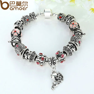BAMOER Drop Shipping Fish Charm Bracelet Tibetan Silver Murano Glass For Women Fashion European Style Jewelry PA1236 - Clucco
