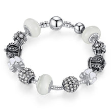 BAMOER Silver Charm Bracelet & Bangle with Royal Crown Charm and Crystal Ball White Beads for Women Drop Shipping PA1456 - Clucco