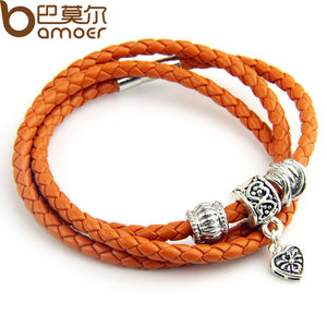 Newest Arrival Silver Charm Black Leather Bracelet for Women Five Colors Magnet Clasp Christmas Gift Jewelry PI0311 - Clucco