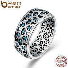 BAMOER 100% 925 Sterling Silver Petals of Love Sweet Clover Blue CZ Finger Rings for Women Engagement Jewelry S925 Gift SCR064 - Clucco