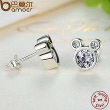 BAMOER Christmas SALE 925 Sterling Silver Dazzling Miky Mouse Stud Earrings for Women & Girls Sterling-Silver-Jewelry PAS457 - Clucco