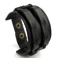 BAMOER Leather Cuff Double Wide Bracelet Rope Bangles Brown for Men Fashion Man Bracelet Unisex Jewelry Gift PI0296 - Clucco