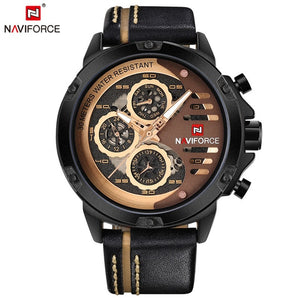 NAVIFORCE Top Brand Luxury Waterproof 24 hour Date Quartz Watch Men's Watches Man Leather Sport Wrist Watch Men Waterproof Clock - Clucco